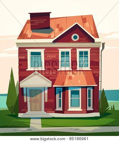 English house facade. Vector illustration.