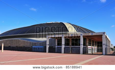 BARCELONA, SPAIN - AUGUST 17: A view of the Palau Sant Jordi arena on August 17, 2014 in Barcelona, Spain. This indoor sporting arena was built for the 1992 Summer Games