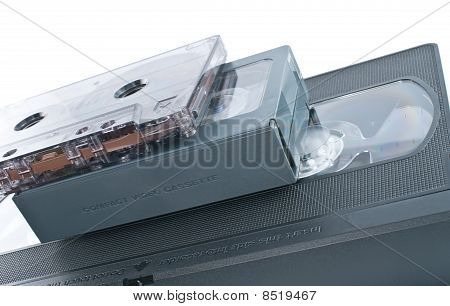 Compact Videocassette, Vhs And Audio Cassette