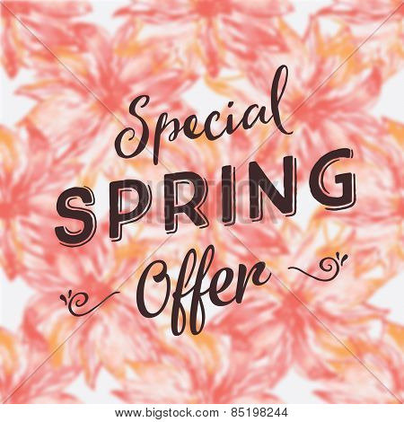Special spring offer illustration on blurred watercolor background