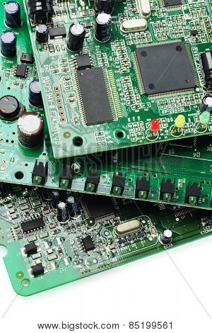 Electronic Circuit Boards On White Background