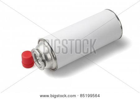 Butane Gas Cartridge For Portable Cooker Lying On White Background
