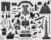 Paris Landmarks, Symbols and Icons - Set of over 40 design elements themed around France and Paris, including famous landmarks, subway sign, corset, vintage fashion, banners and swirls, monochrome poster