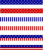 Collection of Blue and red patriotic stars and stripes background frames / page dividers poster