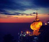 Vintage retro effect filtered hipster style image of Golden Rock - Kyaiktiyo Pagoda - famous Myanmar landmark, Buddhist pilgrimage site and tourist attraction, Myanmar poster