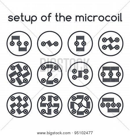 Set Of Icons. Setup Of The Microcoil