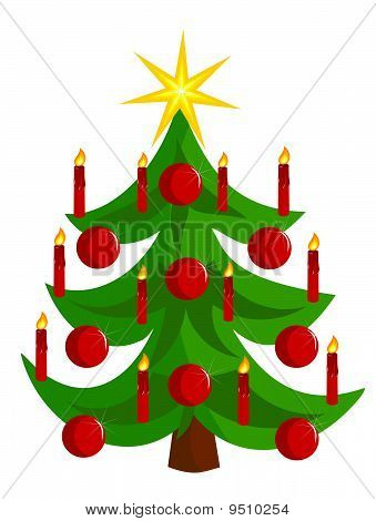 Vector Christmas tree with candles