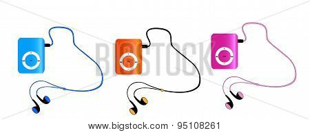 Real Colored Mp3 Players With Headphones Isolated On White Background