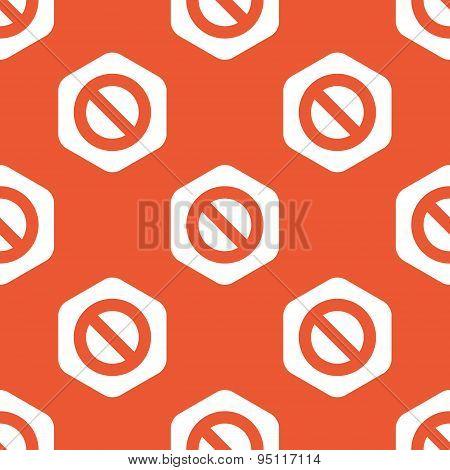 Orange hexagon NO sign pattern