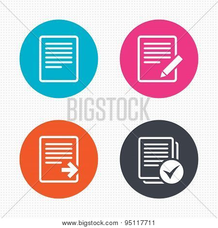 Circle buttons. File document icons. Download file symbol. Edit content with pencil sign. Select file with checkbox. Seamless squares texture. Vector poster