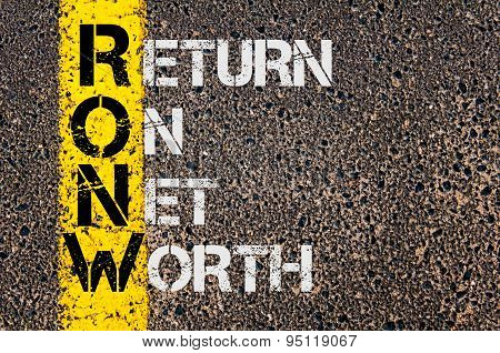 Concept image of Business Acronym RONW as Return On Net Worth written over road marking yellow painted line. poster
