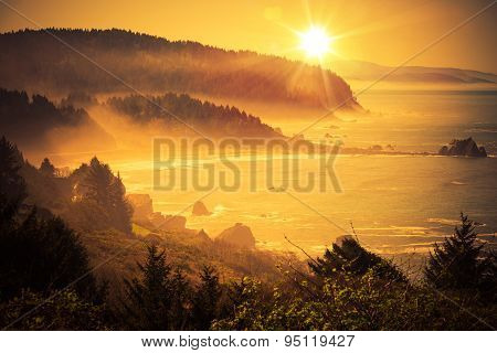 California Coastal Sunset. Shoreline Between Crescent City and Eureka in Northern California United States. Scenic Sunset. poster