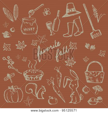Autumn Holiday Doodle Forest Food Ingredient, Animal, Gardening Tool And Nature Object Icon Collecti