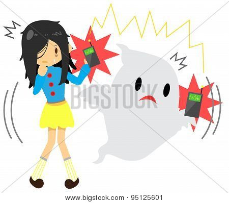 Cute Cartoon Long Hair Girl Is Seeing Or Sensing A Supernatural Ghost Because They Have The Same Fre