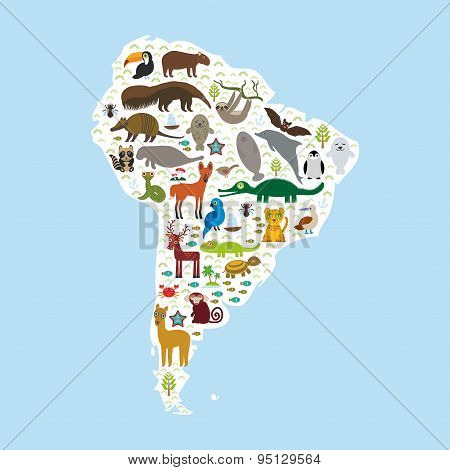 South America sloth anteater toucan lama bat fur seal armadillo boa manatee monkey dolphin Maned wolf raccoon jaguar Hyacinth macaw lizard turtle crocodile penguin Blue-footed booby Capybara. Vector illustration poster