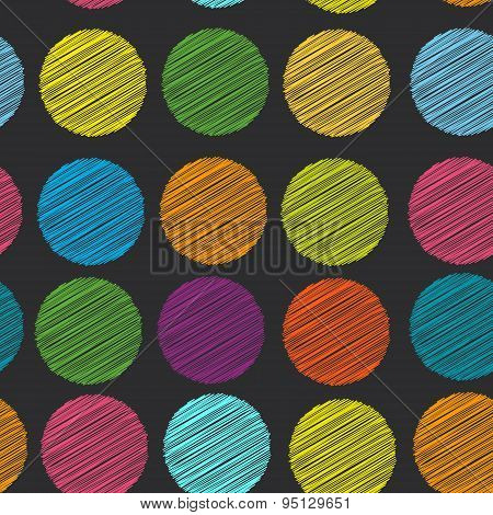 Rainbow Color Polka Dot Background, Seamless Pattern. Embroidery Stitches. Scribble Dot On Black Bac