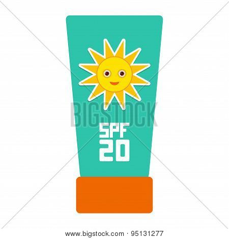 Suntan Lotion Sun Cream Container.  Sunscreen Spf 20. The Blue Tube On White Background. Sun Care Co