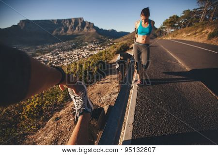 People Stretching After Morning Run