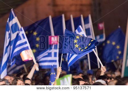 Athens, Greece, 3 July 2015. Greek demonstration in Athens.