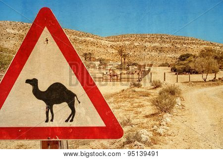 Road Sign - Camel And Corral For Camels.