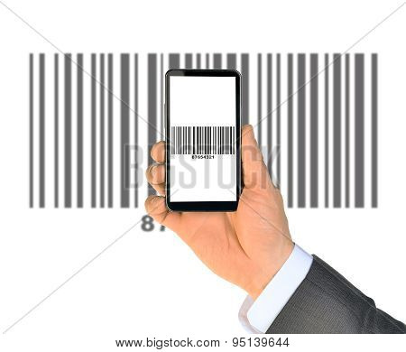 Businessmans hand holding smartphone