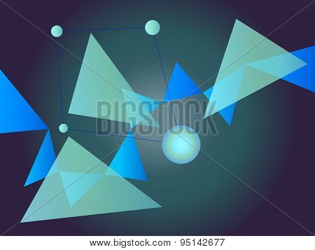Blue And Green Abstract Geometric Shape Vector Background With Spheres And Triangles On Gradient