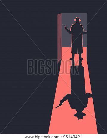 Armed man standing in a doorway.