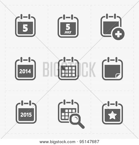 Vector Black Calendar Icons