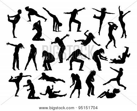 Big Set Of People In Action Silhouettes 1