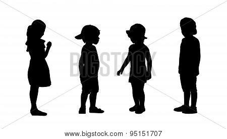 Children Standing Silhouettes Set 4
