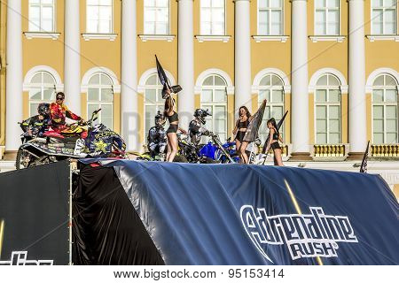 Adrenaline Rush Fmx Riders Moto Freestyle Show On The Palace Square In St. Petersburg.russia.