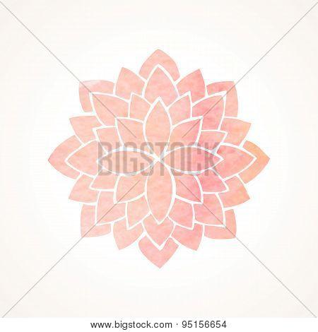 Watercolor Pink Flower Pattern. Silhouette Of Lotus. Mandala