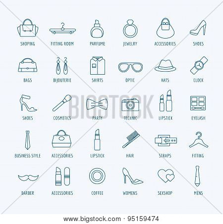 Fashion vector logo icons set. Style, dress or stiplick and shop symbol. Stocks design elements.