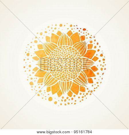 Watercolor Sunny Yellow Lace Pattern. Vector Element. Mandala