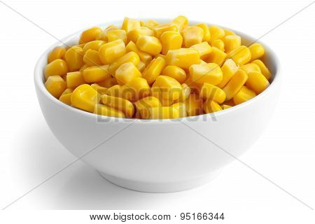 Bowl Of Tinned Sweetcorn Isolated On White.