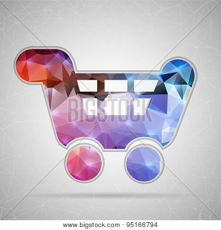 Abstract Creative concept vector icon of cart for Web and Mobile Applications isolated on background