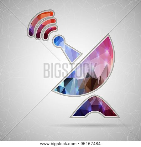 Abstract Creative concept vector icon of satellite dish for Web and Mobile Applications isolated on
