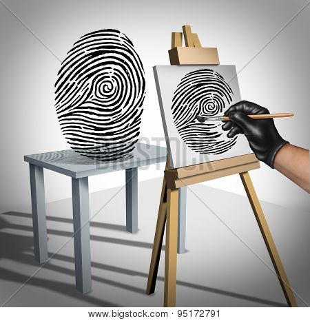 Identity theft concept as a criminal painting a copy of a fingerprint as a security symbol for ID protection and protecting private data on the internet or personal servers. poster