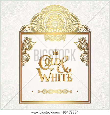 elegant floral ornamental background with inscription Gold and White, golden decor on light pattern, can be use for invitation, wedding, greeting card, cover, paking, vector illustration poster