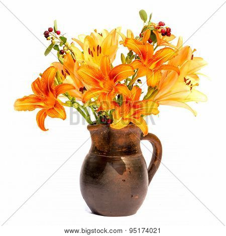 Asiatic Hybrids orange lilys bouquet in a brown vase isolated on white background poster