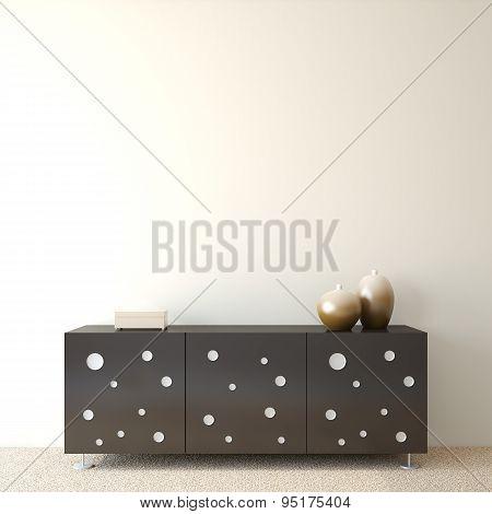 Interior with modern dresser near empty beige wall. 3d render. poster