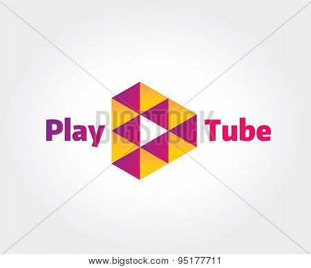 Abstract video hosting logo template for branding and design