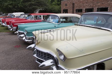 Row Of Vintage 1950's Cadillac Cars