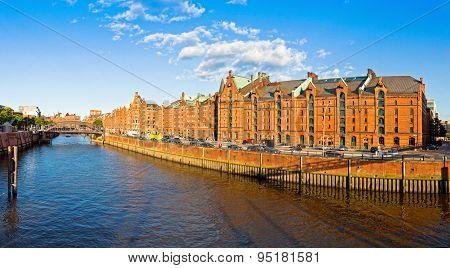 Panoramic View Of Speicherstadt Disctrict In Hamburg, Germany