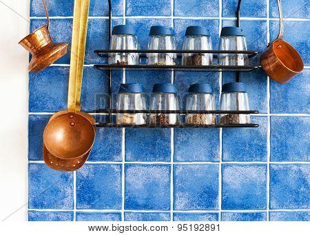 Metal Shelf,  Spices, Kitchenware Tools