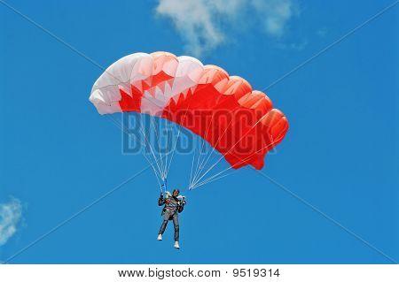 The Parachutist Under A Pink Parachute