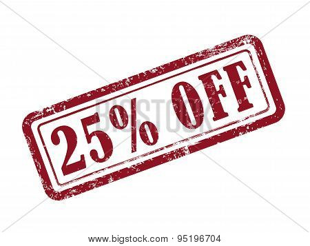 stamp 25 percent off in red over white background poster