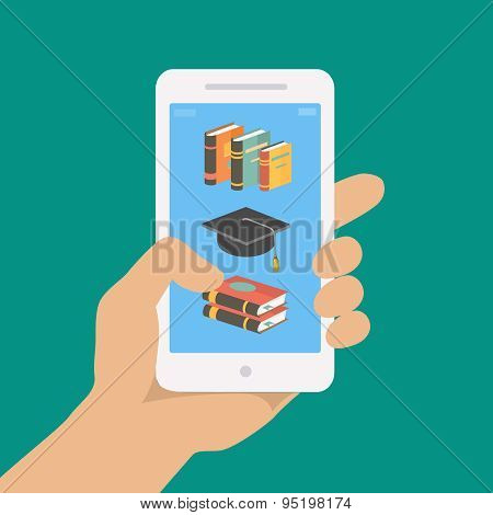 Vector online education concept in flat style. hand holding mobile phone with educational app in the