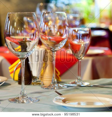 Served Table With Wine Glasses