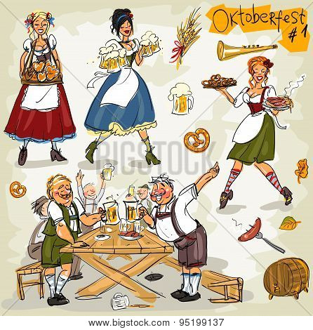 Oktoberfest - hand drawn collection of people